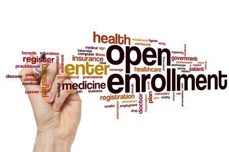 Open enrollment word cloud concept