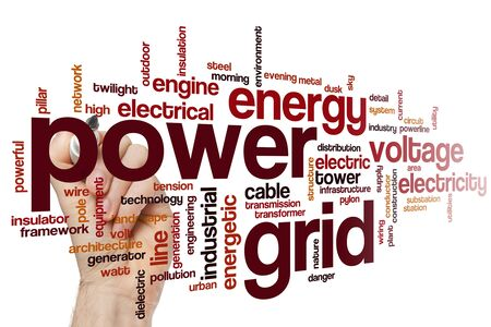Power grid word cloud concept Banque d'images - 129453744