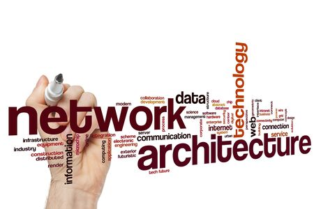 Network architecture word cloud concept Фото со стока