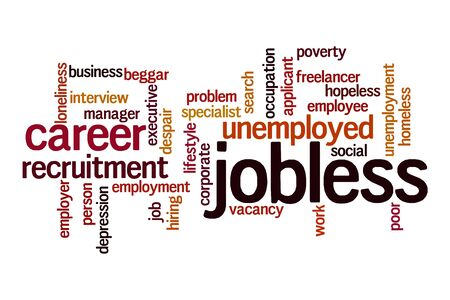 Jobless word cloud concept on white background