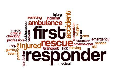 First responder word cloud concept on white background Foto de archivo