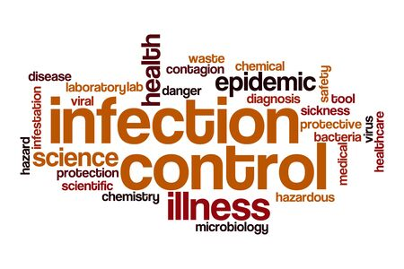 Infection control word cloud concept on white background Stockfoto