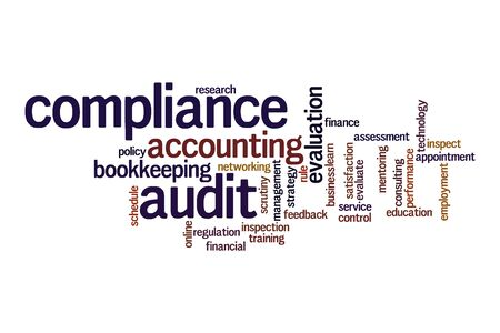 Compliance audit word cloud concept on white background