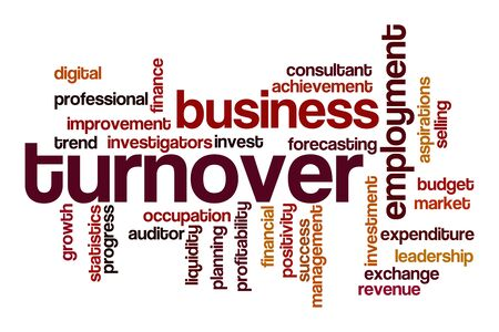 Turnover word cloud concept on white background