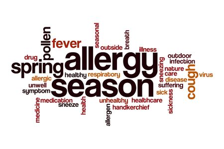 Allergy season word cloud concept on white background
