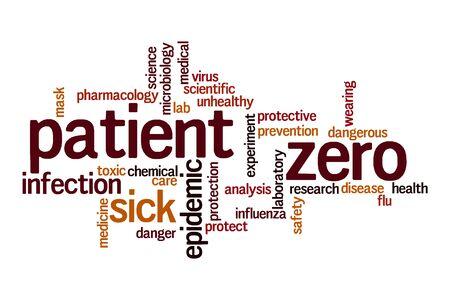 Patient zero word cloud concept on white background