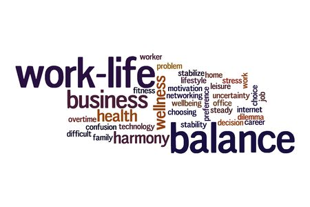 Work-life balance word cloud concept on white background