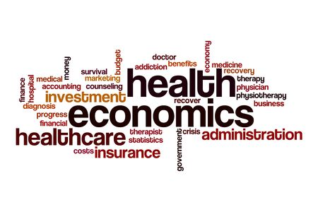 Health economics word cloud concept on white background