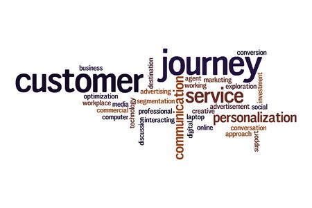 Customer journey word cloud concept on white background