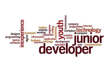 Junior developer word cloud concept on white background