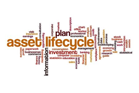 Asset lifecycle word cloud concept on white background