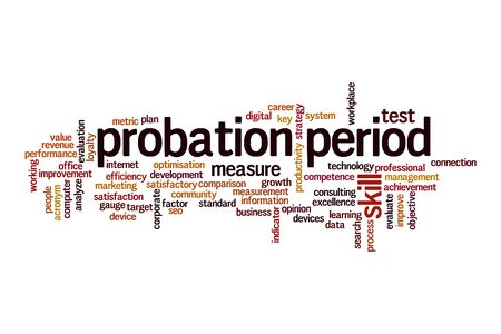 Probation period word cloud concept on white background