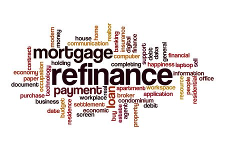 Refinance word cloud concept on white background
