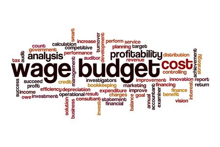 Wage budget word cloud concept on white background