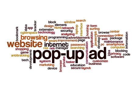 Pop-up ad word cloud concept on white background