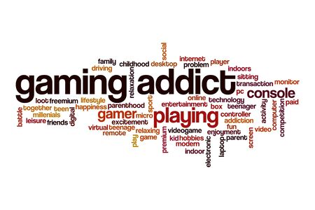 Gaming addict word cloud concept on white background