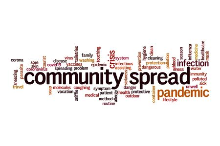 Community spread word cloud concept on white background Banque d'images