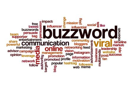 Buzzword word cloud concept on white background