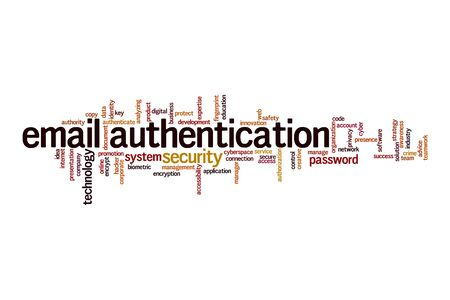 Email authentication word cloud concept on white background