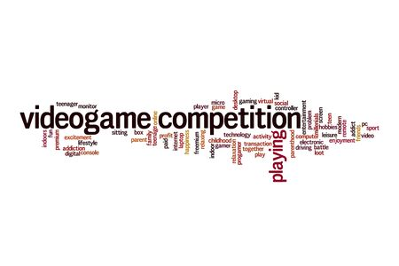 Videogame competition word cloud concept on white background