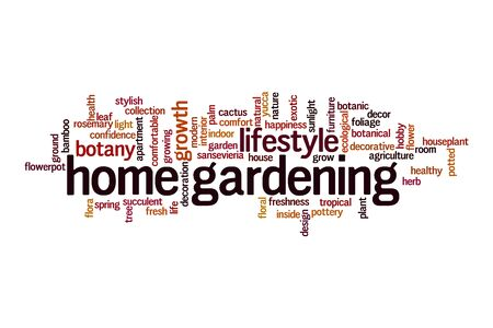 Home gardening cloud concept on white background