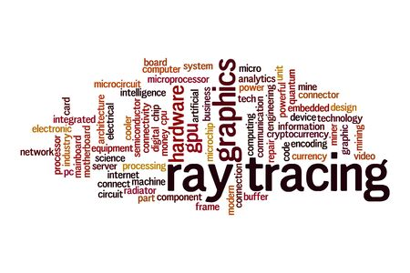 Ray tracing cloud concept on white background