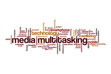 Media multitasking cloud concept on white background