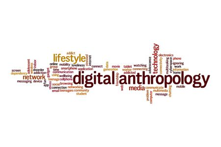 Digital anthropology cloud concept on white background Archivio Fotografico