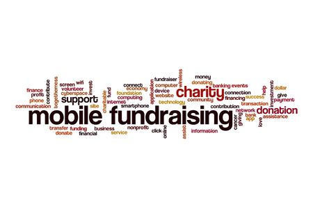 Mobile fundraising cloud concept on white background