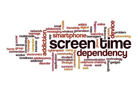 Screen time cloud concept on white background 스톡 콘텐츠