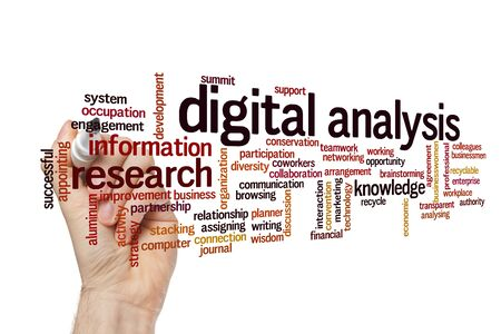 Digital analysis word cloud concept on white background