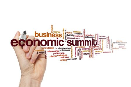Economic summit word cloud concept on white background