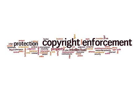 Copyright enforcement cloud concept on white background