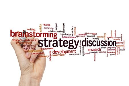 Strategy discussion word cloud concept on white background