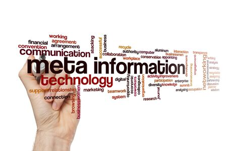 Meta information word cloud concept on white background