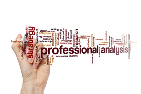 Professional analysis word cloud concept on white background