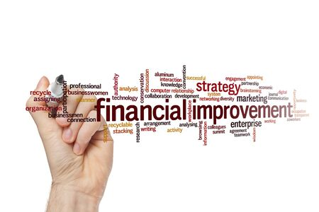 Financial improvement word cloud concept on white background