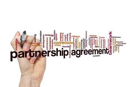 Partnership agreement word cloud concept on white background