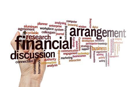 Financial arrangement word cloud concept on white background