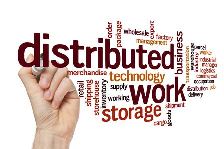 Distributed work word cloud concept on white background