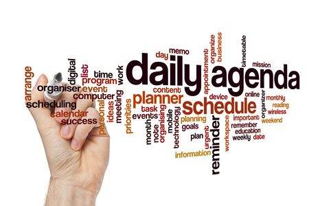 Daily agenda word cloud concept on white background