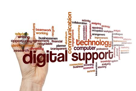 Digital support word cloud concept on white background 免版税图像