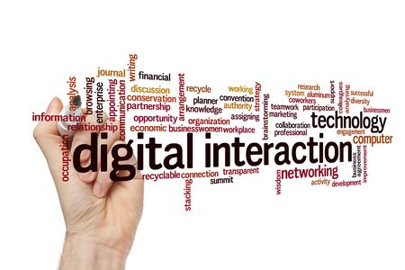 Digital interaction word cloud concept on white background