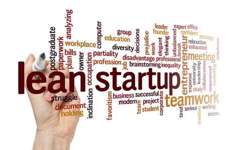 Lean startup word cloud concept on white background Stock Photo