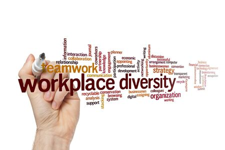 Workplace diversity word cloud concept on white background