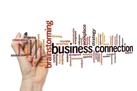 Business connection word cloud concept on white background