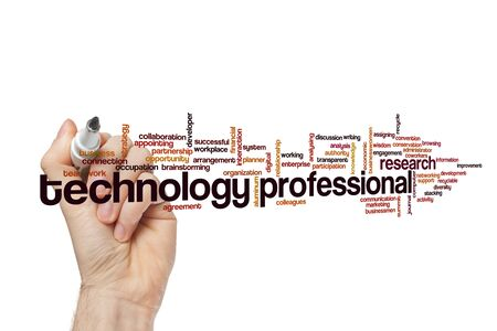 Technology professional word cloud concept on white background 免版税图像