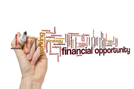 Financial opportunity word cloud concept on white background 免版税图像