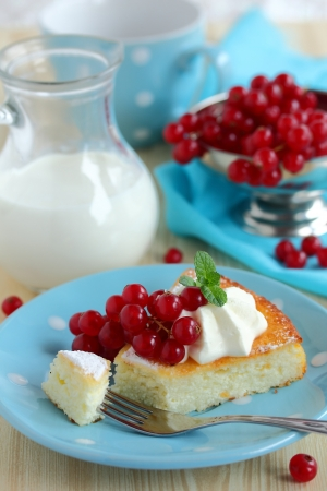 Cottage cheese pie with cream and currants Stock Photo - 16388358