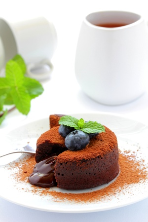 Chocolate pudding with liquid at the center  Stock Photo - 16388364